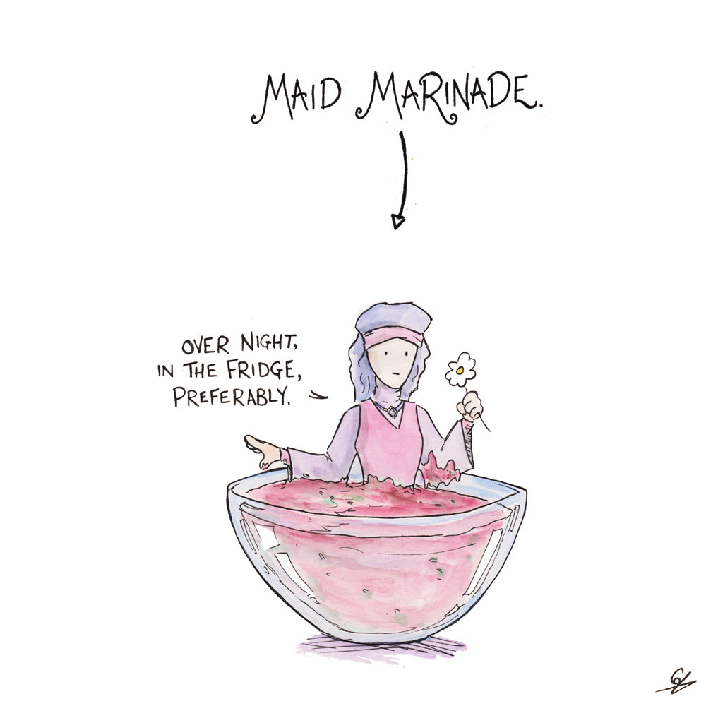 Maid Marian in a bowl, being Marinade. Maid Marinade.