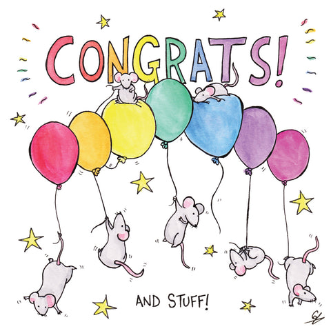 Congrats! And Stuff! Mice on Balloons