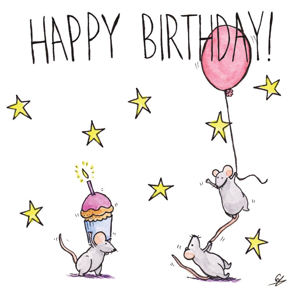 Happy Birthday - Mice holding a cupcake and a balloon