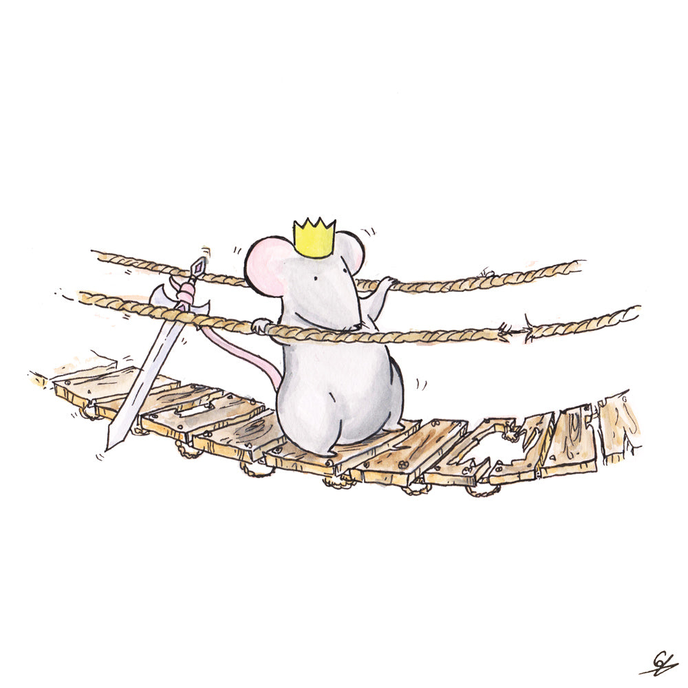 The Mouse King walks across a treacherous bridge