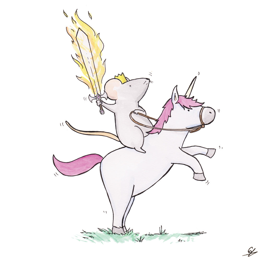 The Mouse King atop a Unicorn holding a flaming sword.