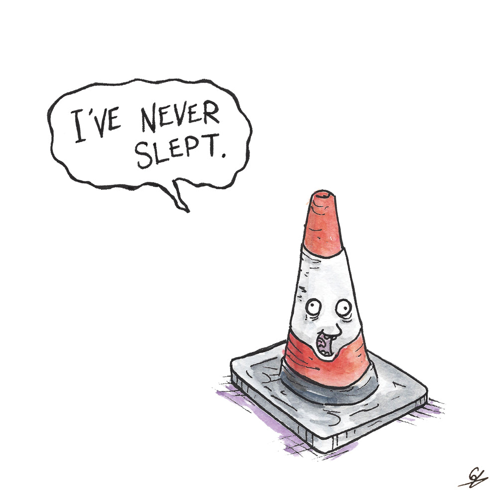A very tired traffic cone.