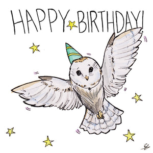 It's an Owl in a Party Hat. Happy Birthday!