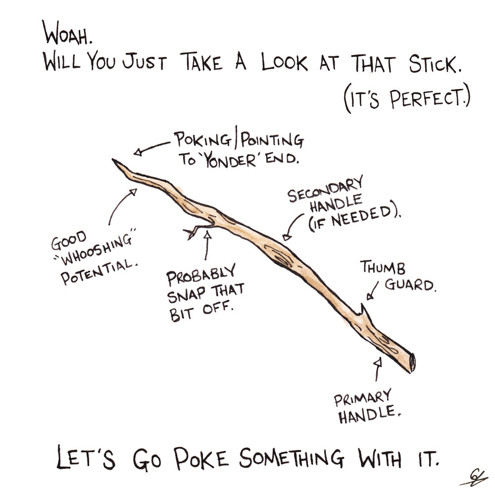 A detailed diagram of the perfect stick.