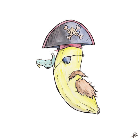 A Banana dressed as a Pirate