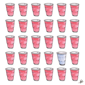 Red Cups and one Blue Cup