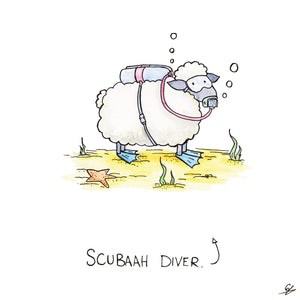 It's a Sheep in Scuba gear. (Scubaah Diver)