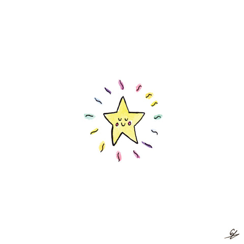 A smiley face star