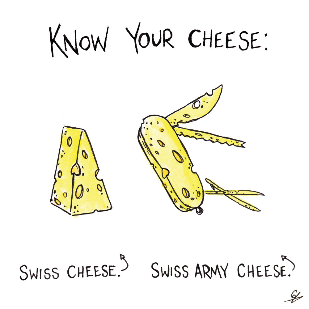 Know your Cheese: Swiss Cheese. Swiss Army Cheese.