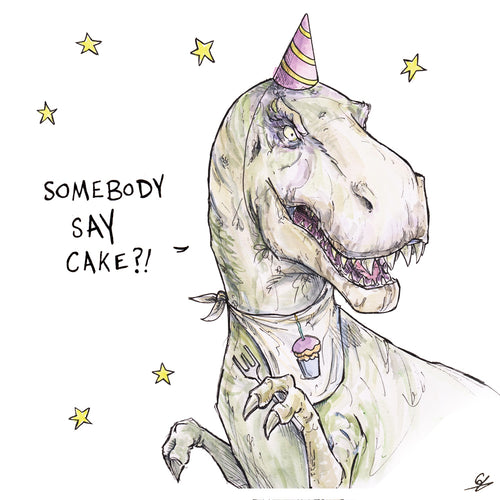 A T-Rex with a party hat and a bib, saying