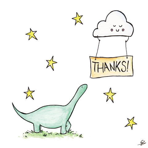 A cloud holding a Thanks! sign above a Dinosaur