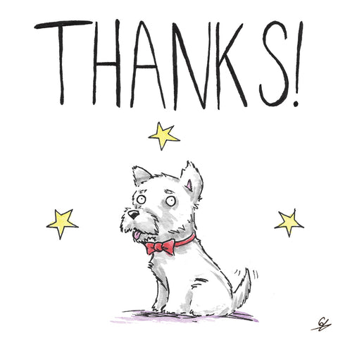 Thanks! With a picture of dog, wearing a bow tie.