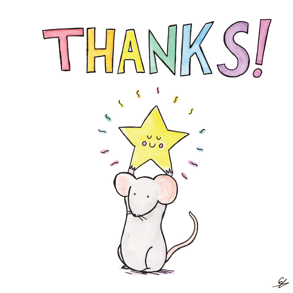 A Mouse holding up a star - Thanks!