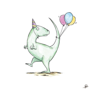 Dinosaur in a party hat with some balloons