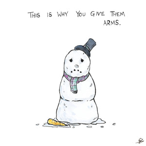 A Snowman with it's nose on the floor.