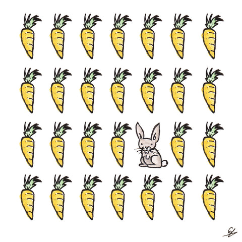 A Rabbit surrounded by Carrots.
