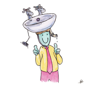 Man with a sink on his head.