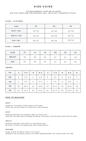 Plus Size Sizing Chart