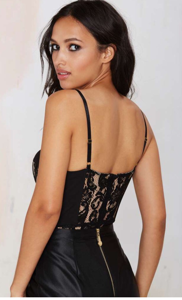 Paris Black & Nude Lace Bodysuit