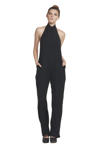 'Elle'  Black Hatler Backless Jumpsuit