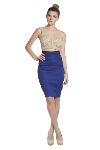 'Jade' Royal Blue Bandage High Waist Skirt
