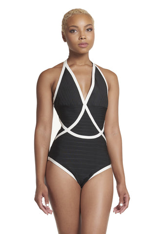 'Fiona' Pool Party Contrast Bodycon Bathing/Body Suit