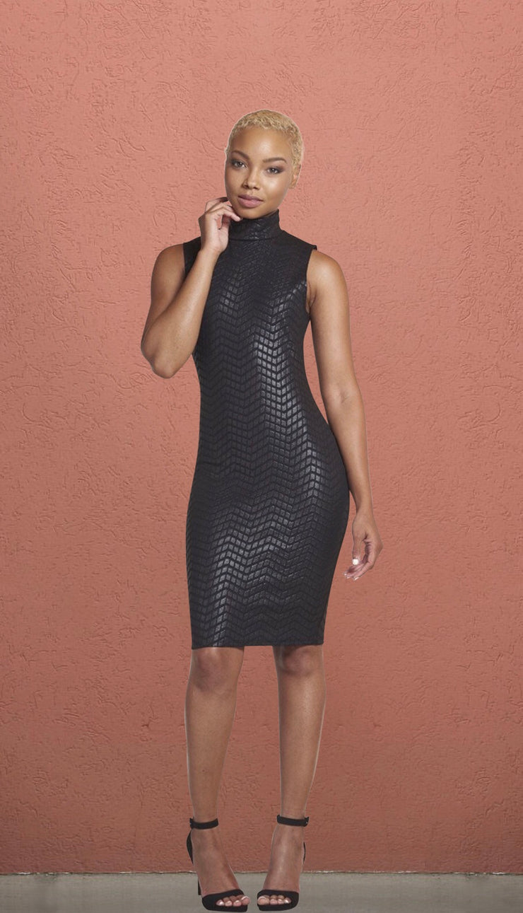 Atlanta Black High Neck Textured Bodycon Dress