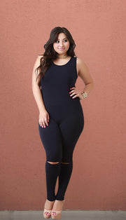 O'Hare Plus Size Knee Slit Sleeveless Jumpsuit