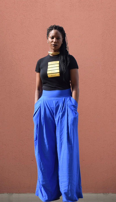Ocean Blue High Waist Wide Leg Pant