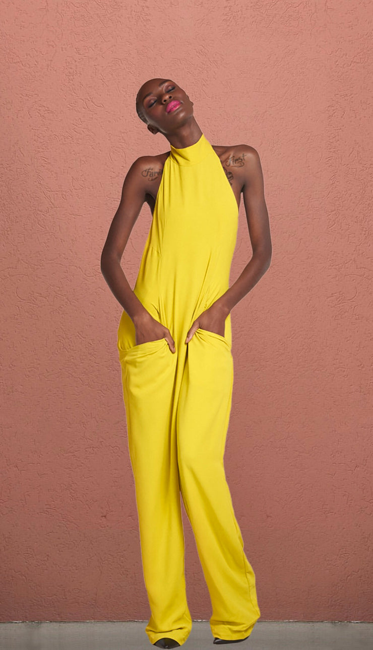 Elle  Wasabi Hatler Backless Jumpsuit