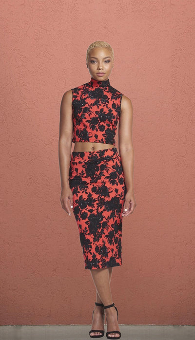 Tokyo Red and Black Floral High Neck Midi Set