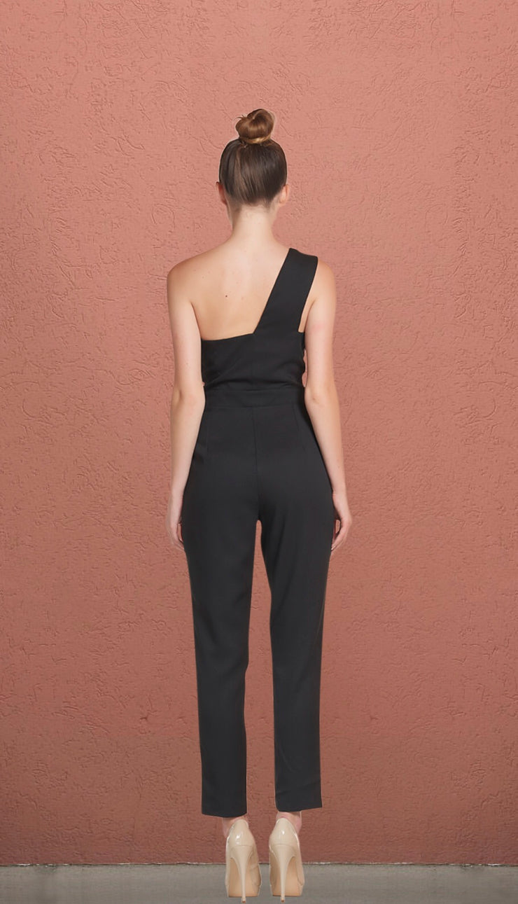 Rockafella Black One Shoulder Fitted Jumpsuit