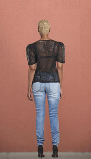 Bottomless Brunch' Black Mesh Top