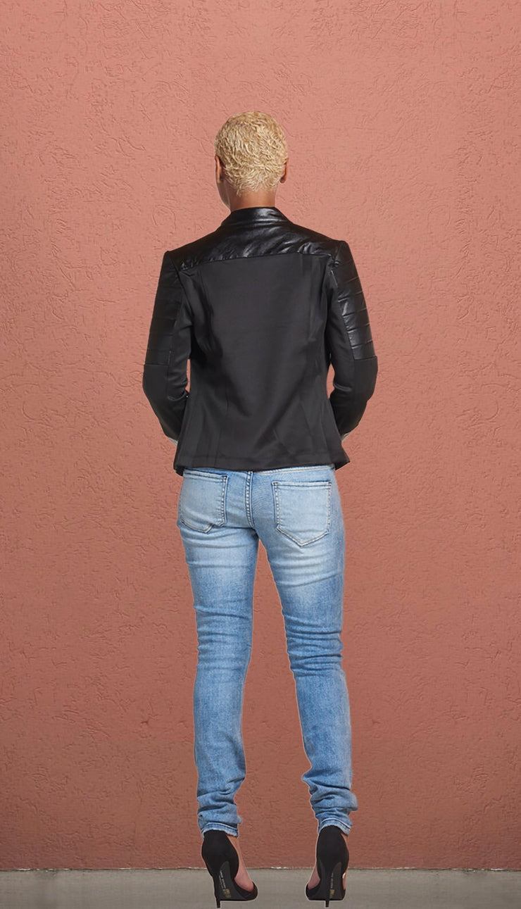JFK Leather Mesh Bomber Jacket