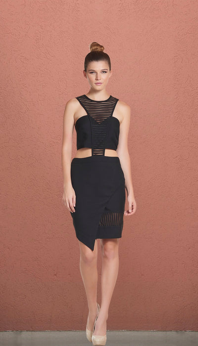 Birthday Black Mesh Cut Out Asymmetric Dress