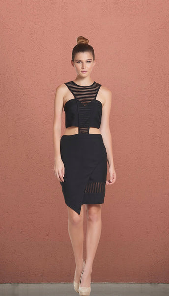 'Birthday' Black Mesh Cut Out Asymmetric Dress