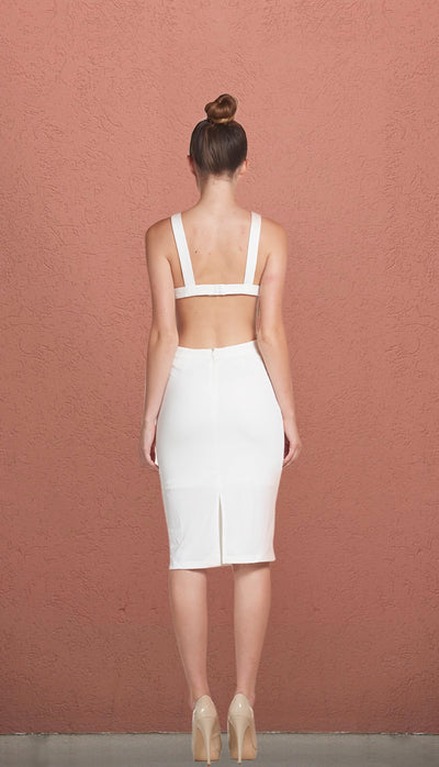 Miami Ivory Cut Out Pencil Dress