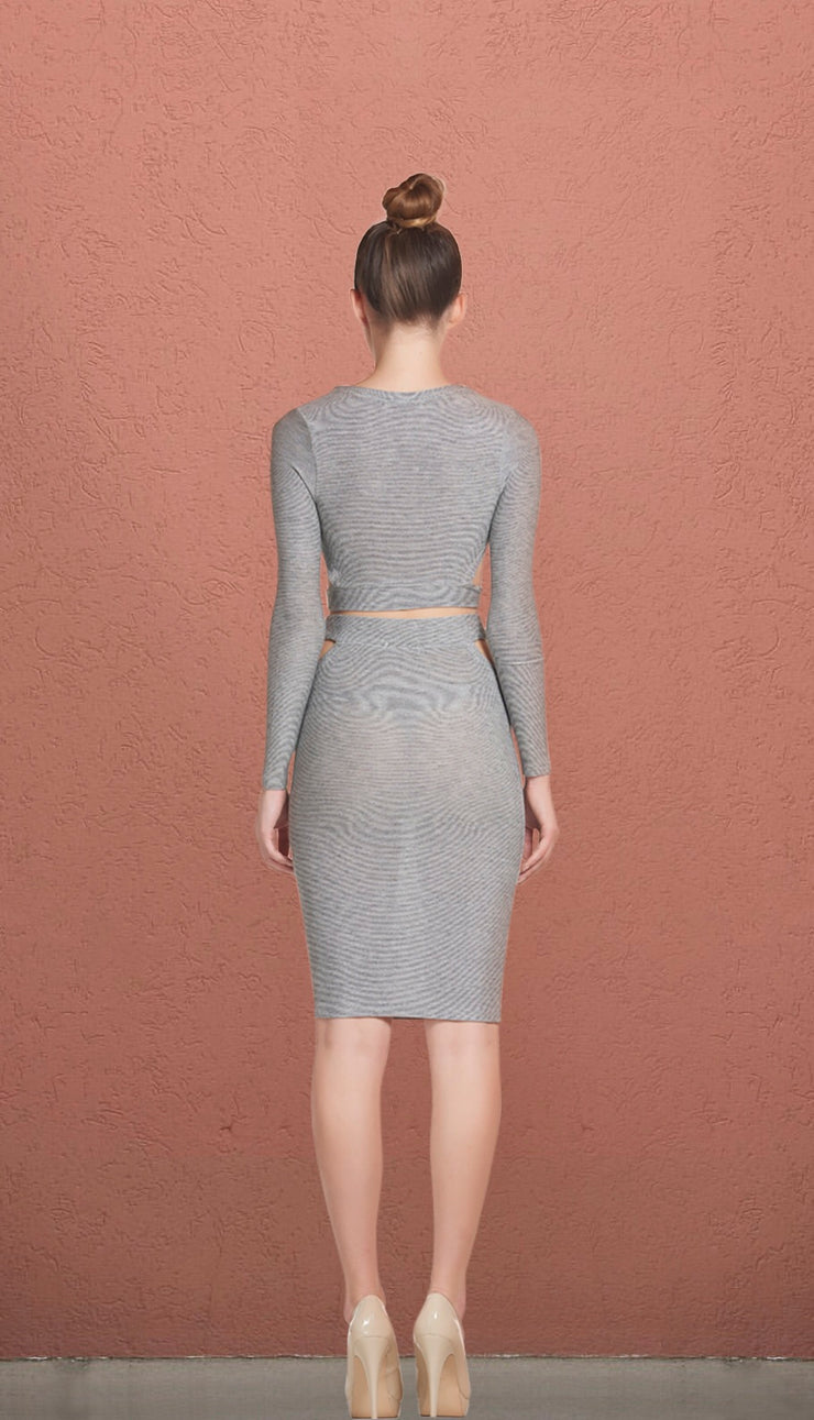 Epicentre Grey Side Peek A Boo Midi Set