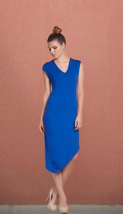 Malibu Blue Asymmetrical T-Shirt Dress