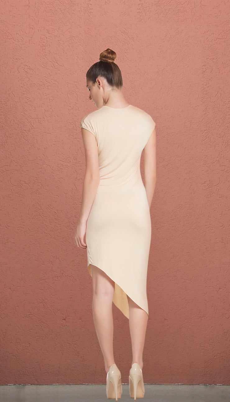 Malibu Nude Asymmetrical T-Shirt Dress
