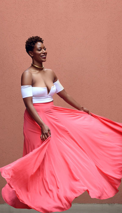 Antigua Peach Maxi Skirt