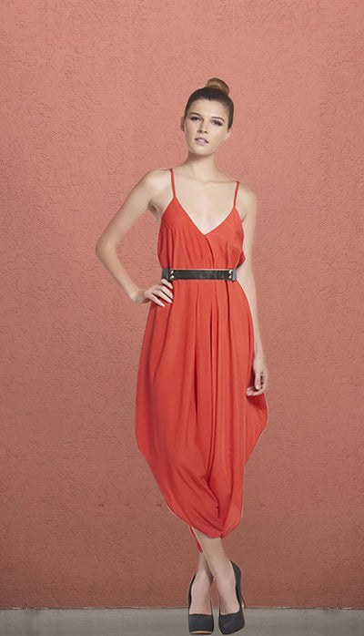 Vienna Orange Red Cami Drape Jumpsuit