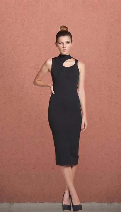 Phoenix Crew Neck Keyhole Midi Bandage Dress