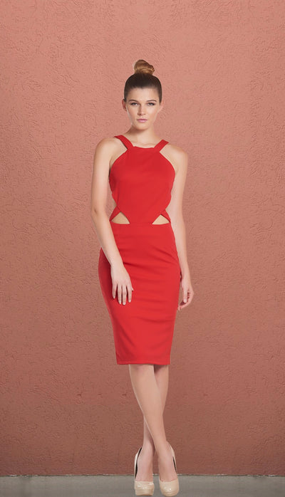 Chinese New Year Red Cut Out Pencil Dress