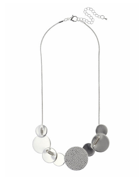Silver Necklace With Textured Discs