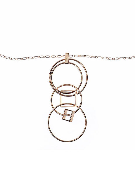 Rose Gold Necklace With Orbits & Rhombus