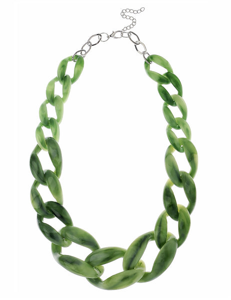Faux Jade Chain Necklace in Green