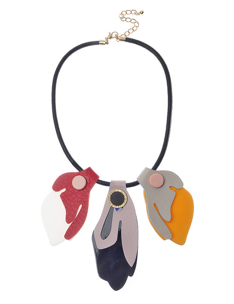Necklace With Colour Block Petal Pendants