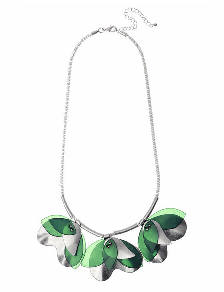 Silver Necklace With Linked-Tulips