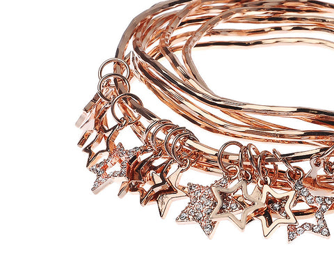 Rose Gold Bangles With Stars